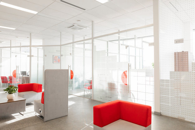 glass office partition wall